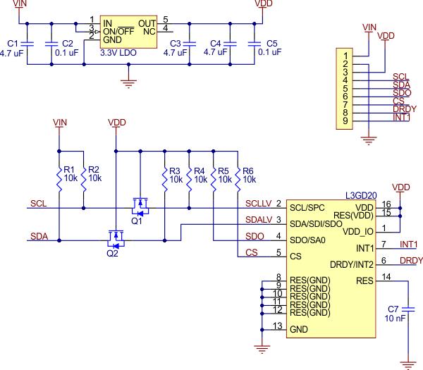 l3gd20h voltaj regülatörlü 3 eksen gyro sensörü - pl-2129 devre şeması